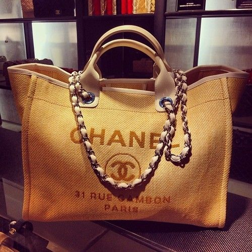 Chanel Chanel Deauville Canvas Tote Bag For Your Arms