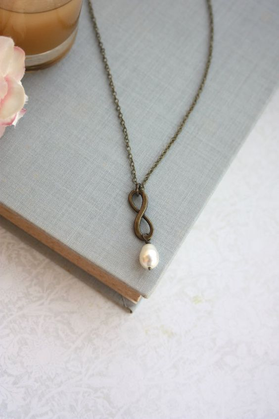 Infinity Ivory Pearl Necklace. Bridesmaids Gifts. Maid of Honor. Best Friends. For Wife, For Sister. Mother Daughter. Engagement. Valentine.