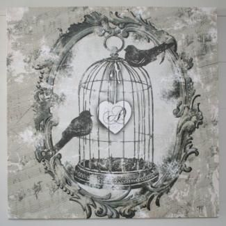 tableau mathilde m oiseaux cage d co romantique shabby chic pinterest ps. Black Bedroom Furniture Sets. Home Design Ideas