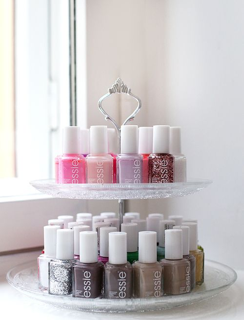 A beautiful way to display your nail varnishes. Storage ideas.