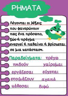 Καρτέλα για τα ρήματα.: