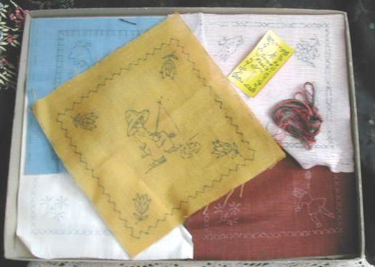 1930's Stichcraft Childs Luncheon Embroidery Set-Unused-Original Deco Box