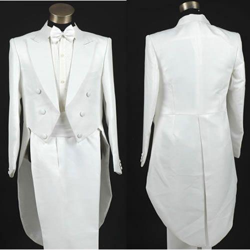Men White Double Breasted Vintage Edwardian Style Wedding Tuxedo Suits SKU-10108004