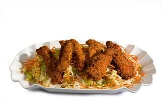 Buffalo Chicken Tenders with Blue Cheese Coleslaw Recipe