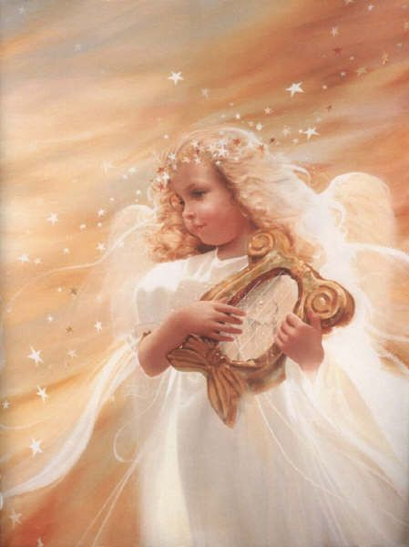 Little angel playing harp