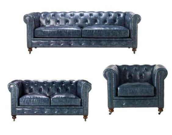 Stunning blue leather chesterfield sofa set with loveseat arm