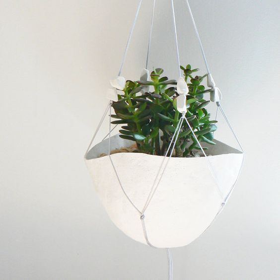 grey macrame plant hanger with paper beads by joopaperamics, $28.00