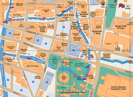 San Antonio Riverwalk Visitor Map 169 Eureka Cartography