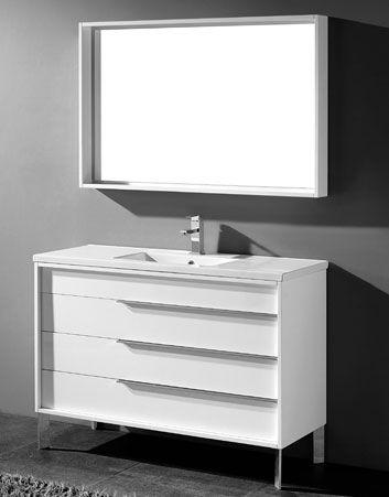 Milano 48 Inch Modern White Cheap Bathroom Vanities Free Standing