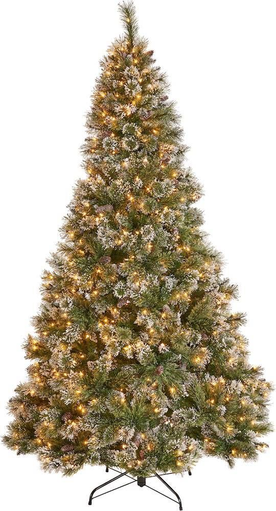 Noble House 7 5 Cashmere Mixed Needles Pre Lit Hinged Artificial Christmas Tree With Snow Glitter Branches With Frosted Pinecones Green Clear Lights 307333 In 2020 Best Artificial Christmas Trees Pretty