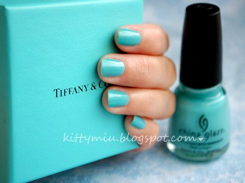 """China Glaze nail color in """"For Audrey"""". The name says it all! This is a spot-on Tiffany blue shade, and this polish wears VERY well! Love, love, love it!"""