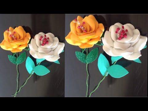 أسهل طريقه لعمل ورده بالفوم سهله وبسيطه أعمال يدويه بالفوم Youtube Rose Flowers Plants