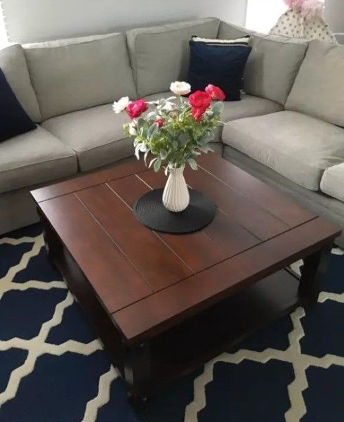 Square Coffee Table Large Brown Cherry Cocktail Living Room
