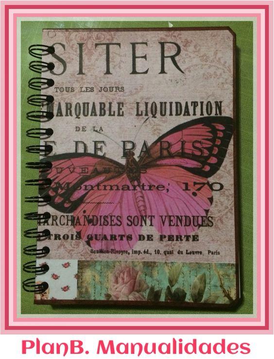 Hermosa #libreta en pastas de cartón, decorada con #scrapbook!! #PlanBManualidades #FDMX