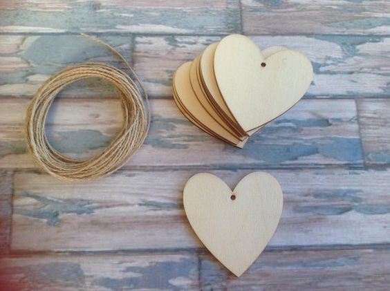 10 x Laser cut wooden hanging heart by FredAndBo on Etsy