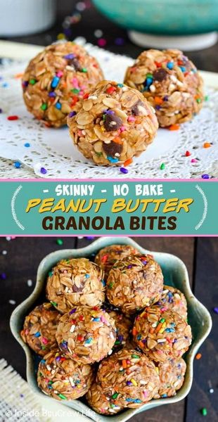 Skinny Peanut Butter Granola Bites Recipe