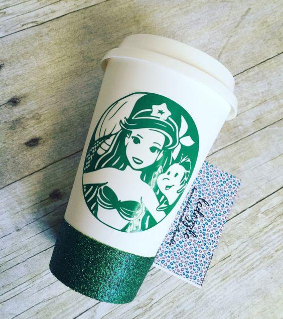 Rief meine kleine Meerjungfrau-Fans & überdachte Meerjungfrauen; P  Dieses Angebot kommt mit einem Glitter getaucht um Tasse zu gelangen. Glitter im