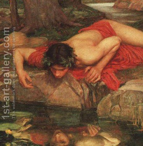 Narcissus cropped Waterhouse Reproduction | 1st Art Gallery