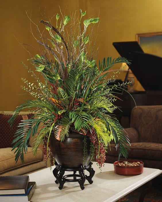 Silk Cycas & Croton Silk Planter   Artificial Floor Plants