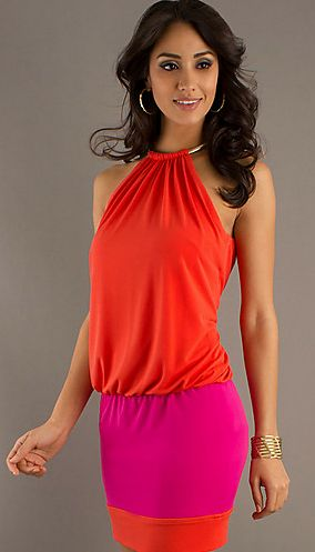 Laundry by Shelli Segal Ring Neck Colorblock Blusson Dress Pink ...