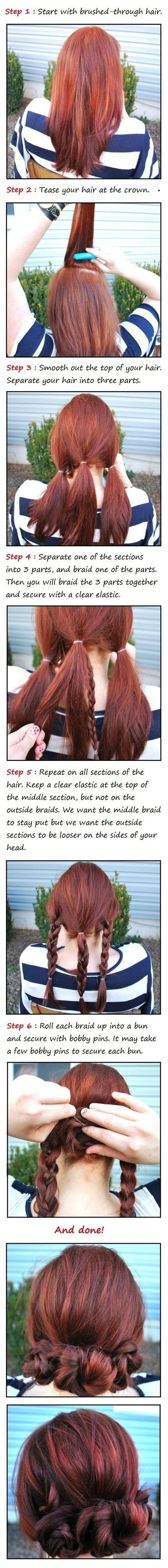 Simples buns trança fazer segunda-dia de cabelo ainda melhor do que era no dia anterior. | 17 Ways To Never Have A Bad Hair Day Again