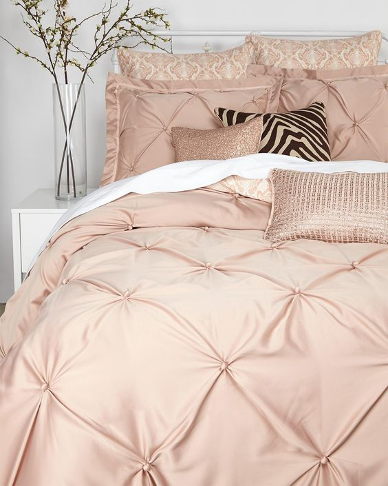 vince camuto rose gold queen comforter set - Chambre Rose Gold