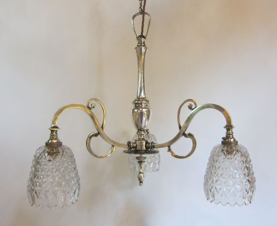 English three arm ceiling light in the original silver plated finish.  www.antiquelightingcompany.com