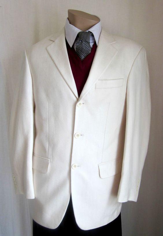 GIANFRANCO RUFFINI ITALY Men's VINTAGE Ivory 100% SILK Blazer Jacket Size 36 R #GianfrancoRuffini #ThreeButton