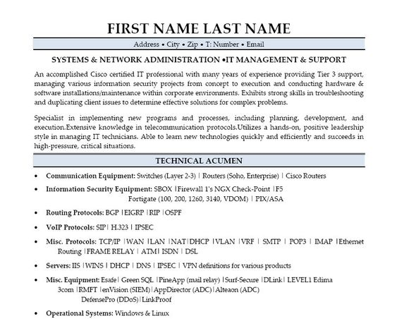 Click Here to Download this Systems Administration Resume Template! http://www.resumetemplates101.com/templates.php