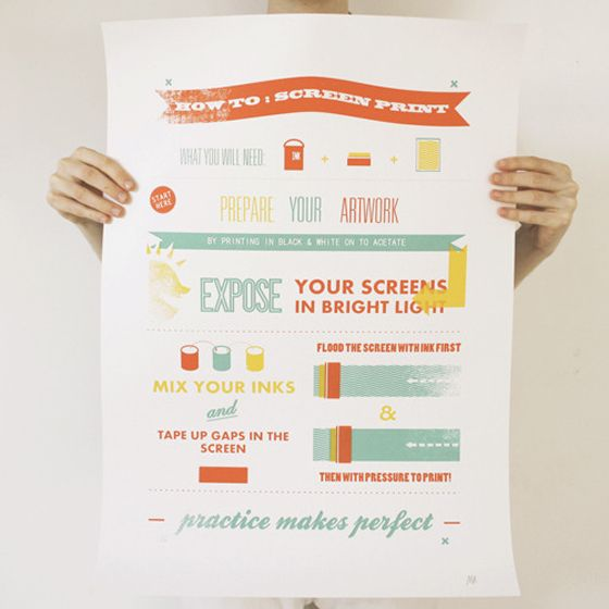 How to Screen Print poster by How to Project + Get a Grip from Design Crush.