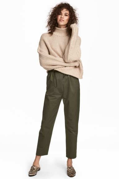 Pantaloni ampi con coulisse - Verde kaki - DONNA ' H&M IT 1