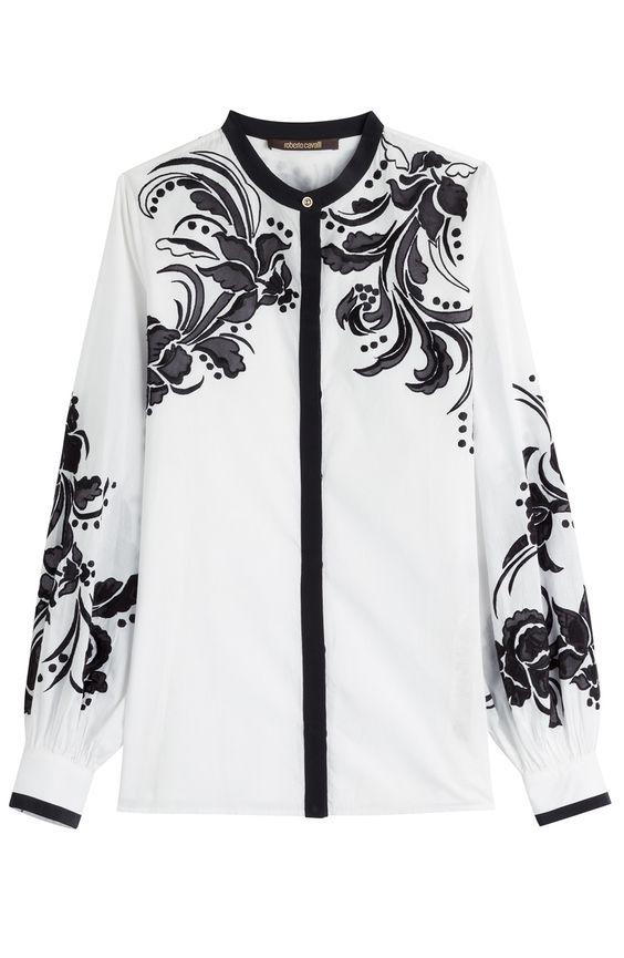 ROBERTO CAVALLI Embroidered Cotton Blouse. #robertocavalli #cloth #tops