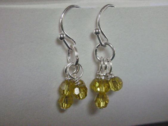 Khaki Swarovski Crystal  Tiny Dangle Earrings  by ThatGirlsDesigns, $6.00