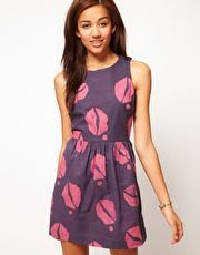 Skater Dress with Lips print
