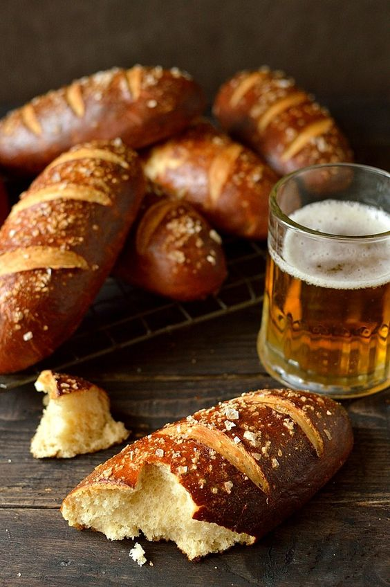 Beer pretzel hot dog buns - soft yet chewy pretzel hot dog buns made with ale.
