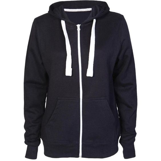 Navy Zip Up Hoodie ($6.45) ❤ liked on Polyvore featuring tops ...