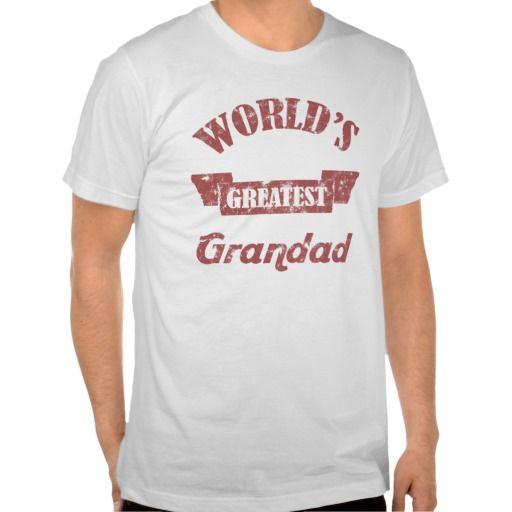 Worlds Greatest Grandad T-shirts. A cool gift idea for the world's best grandfather, with a banner and a vintage distressed effect.