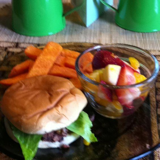 Black bean burgers, sweet potato fries, and fruit salad...the perfect ...