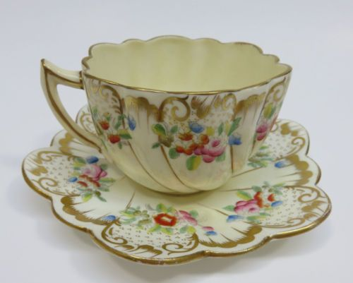 Antique Chapman Sons Scalloped Edge Porcelain Cup Saucer England 1889 1906 Tea Cups Tea Cups Vintage Tea