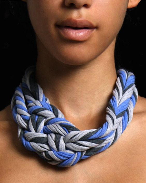Womens Braided Headband Necklace - Blue Grey Charcoal
