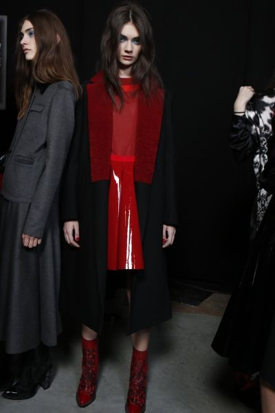 FIERCE red ankle boots and the perfect overcoat is all you need for effortless AW chic. #Topshop #AW13 #LFW