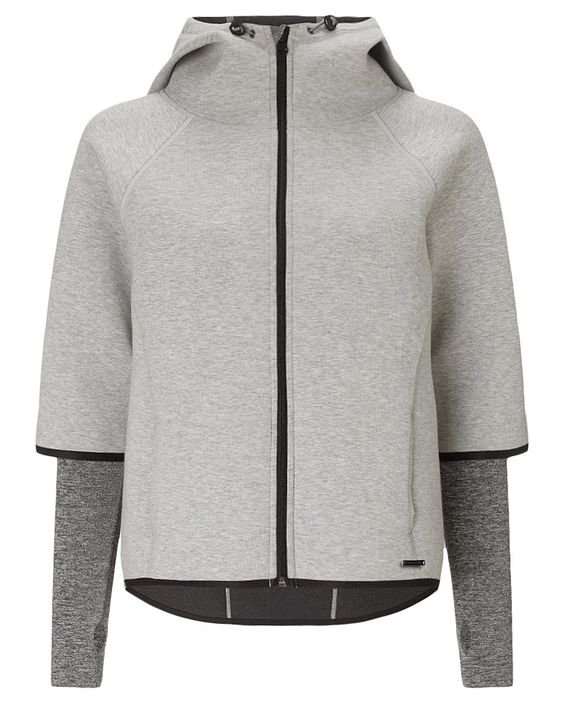 Bonded jersey hooded jacket with neoprene feel. Statement styling includes a cropped front, dropback hem and reflective raglan seams. As functional as it is fashionable, it also features a chin guard, storm cuffs and external side zip pockets for rainy days.