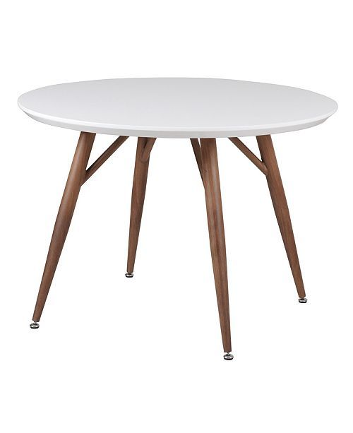 New Spec Inc Sorrenta Mid Century Round Glossy Dining Table