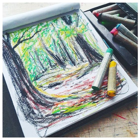 Way behind with my #novsketchbookmagic, here's day 18 - theme Park. Loosening up with some oil pastels. #sketchpad, #sketchbook, #park, #woodland, #trees, #illustration, #oilpastels, #drawing.