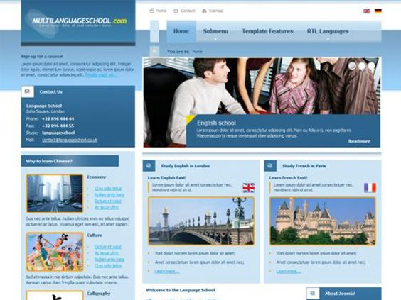 JM Language School Free Joomla Education Template is a great template for School and Education category addressed in particular for language schools. The demo website contains example custom modules that can be some kind of inspiration to draw from in order to display any information about language lessons, any intensive courses or presenting teachers profiles