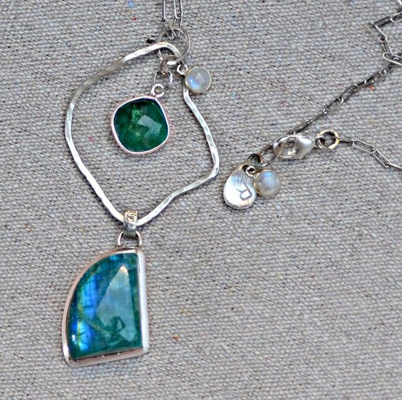 Moonstone Silver Necklace. OCEANIA Blue Green Moonstone Emerald Necklace. Silversmith. Geometric Sterling Silver Necklace. Fine Jewelry. by RaindropsJewelry on Etsy https://www.etsy.com/listing/215830172/moonstone-silver-necklace-oceania-blue