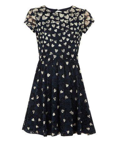 Look at this #zulilyfind! Navy Heart Lace Dress - Girls by Yumi Girls #zulilyfinds