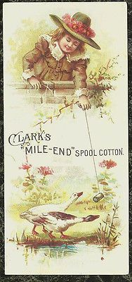 Girl Teases Geese with Clark's Mile-End Spool Cotton Victorian Trade Card