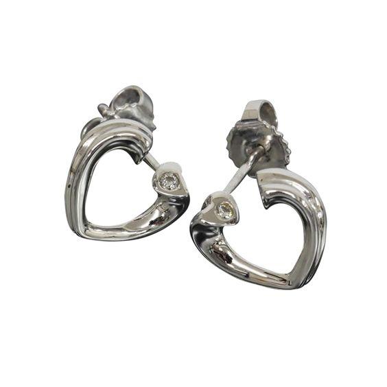 Tiffany & Co 18k White Gold Tenderness Heart Diamond Earrings W/Box Bag