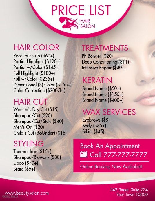 Hair Service Hair Salon Prices Beauty Salon Price List Hair Salon Price List